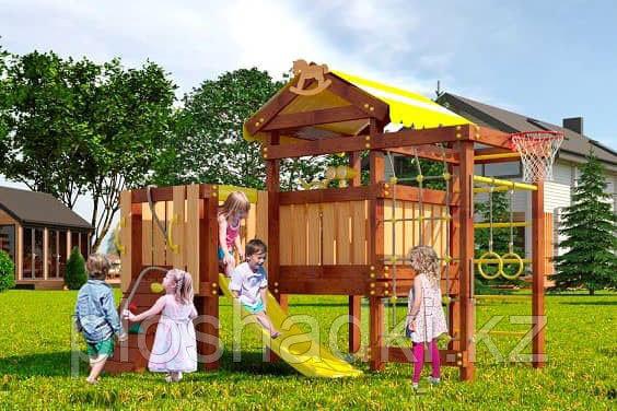 Детская площадка Савушка BABY-7(play), игрвой домик с крышей, увеличен. балкон, шведская стенка, сетка-лазалка