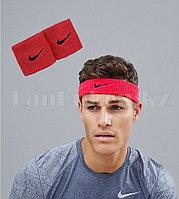 Спортивная повязка на голову, напульсники на руку красные с черным значком