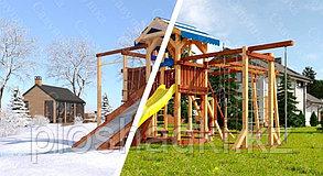 Детская площадка Савушка 4 сезона, игровая башня, горка, качели, шведская стенка, песочница.