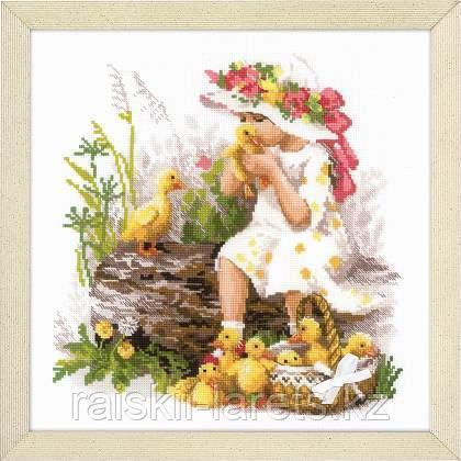 """Набор для вышивания крестом """"Риолис""""  1781 """"Девочка с утятами"""""""