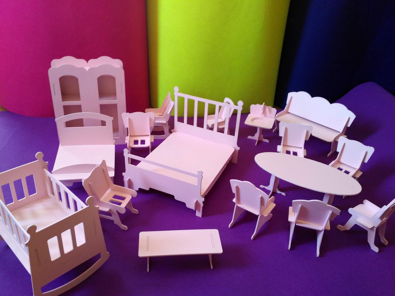 Кукольная мебель для больших кукол (17 предметов)