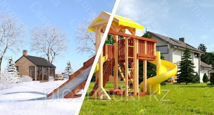 """Детская площадка Савушка """"4 сезона"""" 9, игровая башня, зимняя и обычная горка, винтовая горка, качели"""
