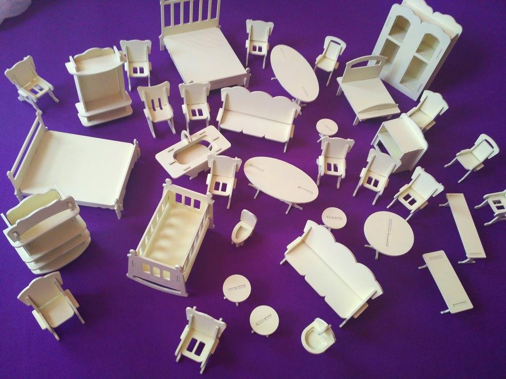 Кукольная мебель для маленьких кукол (38 предметов)