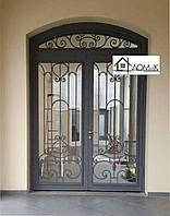 Дверь со стеклом и ковкой на заказ в Алматы