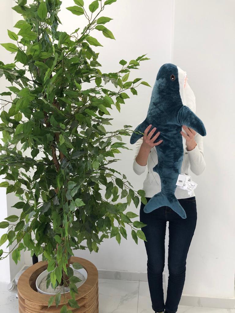 Мягкая игрушка акула синяя 80см