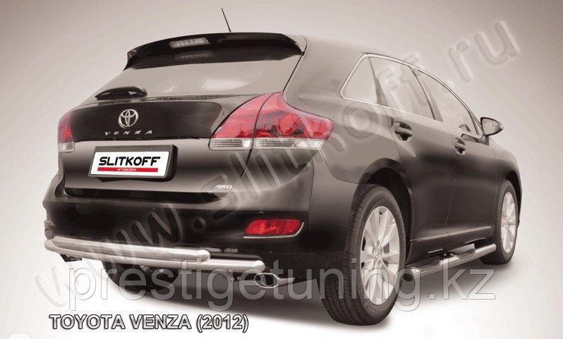 Защита заднего бампера d57+d57 двойная радиусная Toyota Venza (2013)
