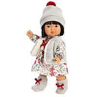 Кукла Llorens Лу азиатка в сером жилете и платье в цветочек 28см