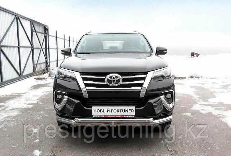 Защита переднего бампера d76+d57 двойная Toyota Fortuner (2017)