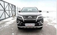 Защита переднего бампера d76+d57 двойная с профильной ЗК Toyota Fortuner (2017)