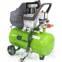 Компрессор воздушный КК-1500/24, 1.5 кВт, 198 л/мин, 24 л, прямой привод, масляный Сибртех