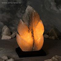 """Соляная лампа """"Лист резной"""", цельный кристалл, 20,5 см, 2-3 кг"""