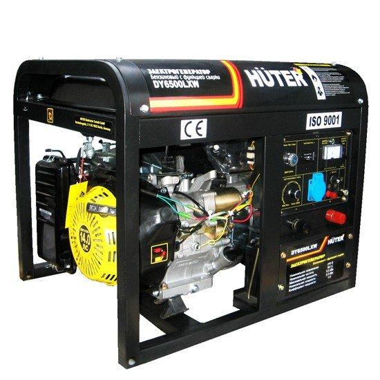 Бензогенератор HUTER DY6500LXW с функцией сварки, с колёсами