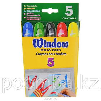 Восковые мелки для рисования на окнах, 5 цветов