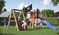 Детская площадка Савушка 3, с альпинистской стенкой, игровой башней, качелями, кольцами, фото 1