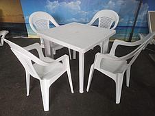"""Комплект стол, кресла пластиковые """"Венеция"""". Россия. Белый. Шоколад."""