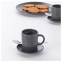 ДИНЕРА Чашка для кофе эспрессо с блюдцем, темно-серый, фото 1