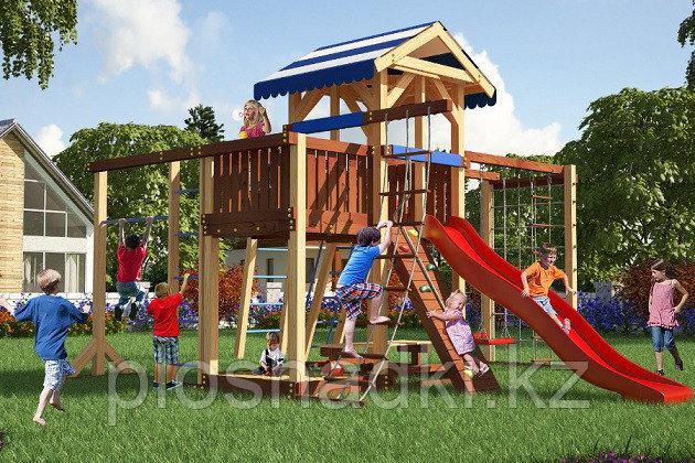Детская площадка Савушка 16 с рукоходом, турником, качелями, сеткой для лазанья