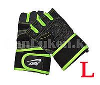 Перчатки для фитнеса и тренажеров, турника (без пальцев) NIKE размер L салатовые