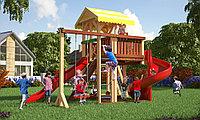 Детская площадка Савушка 18 с игровой башней, винтовой горкой, альпинистской и шведской стенкой, песочницей, фото 1