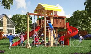 Детская площадка Савушка 18 с игровой башней, винтовой горкой, альпинистской и шведской стенкой, песочницей