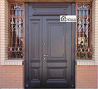 Дверь со стеклопакетом и ковкой на заказ в Алматы