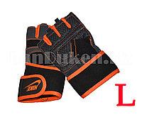 Перчатки для фитнеса и тренажеров, турника (без пальцев) NIKE размер L оранжевые