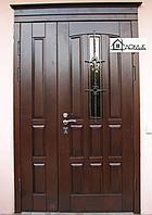 Дверь металлическая с ковкой и стеклом
