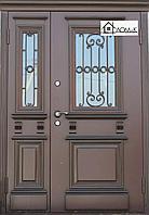 Дверь железная с ковкой и стеклом на заказ в Алматы