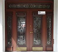 Дверь железная со стеклопакетом и ковкой на заказ