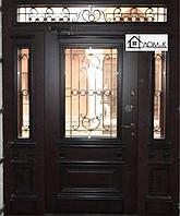 Дверь железная с ковкой и стеклом