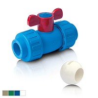 Кран шаровый для горячей воды с двумя универсальными соединительными разъемными головками ППР 20 BO