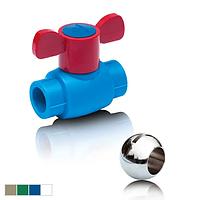 Шаровой кран из ППР для горячей воды с шариком из латуни , D- 20 BO