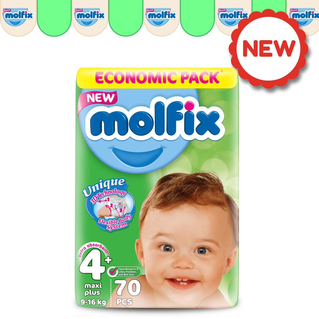 Подгузники детские Molfix GIGA №4+ MAXI PLUS (9-16 кг), 70 шт.