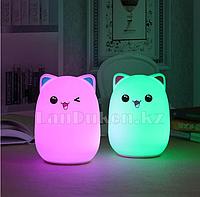 Светильник Котик ночник аккумуляторный силиконовый котик 13.5 x 9 см USB в ассортименте