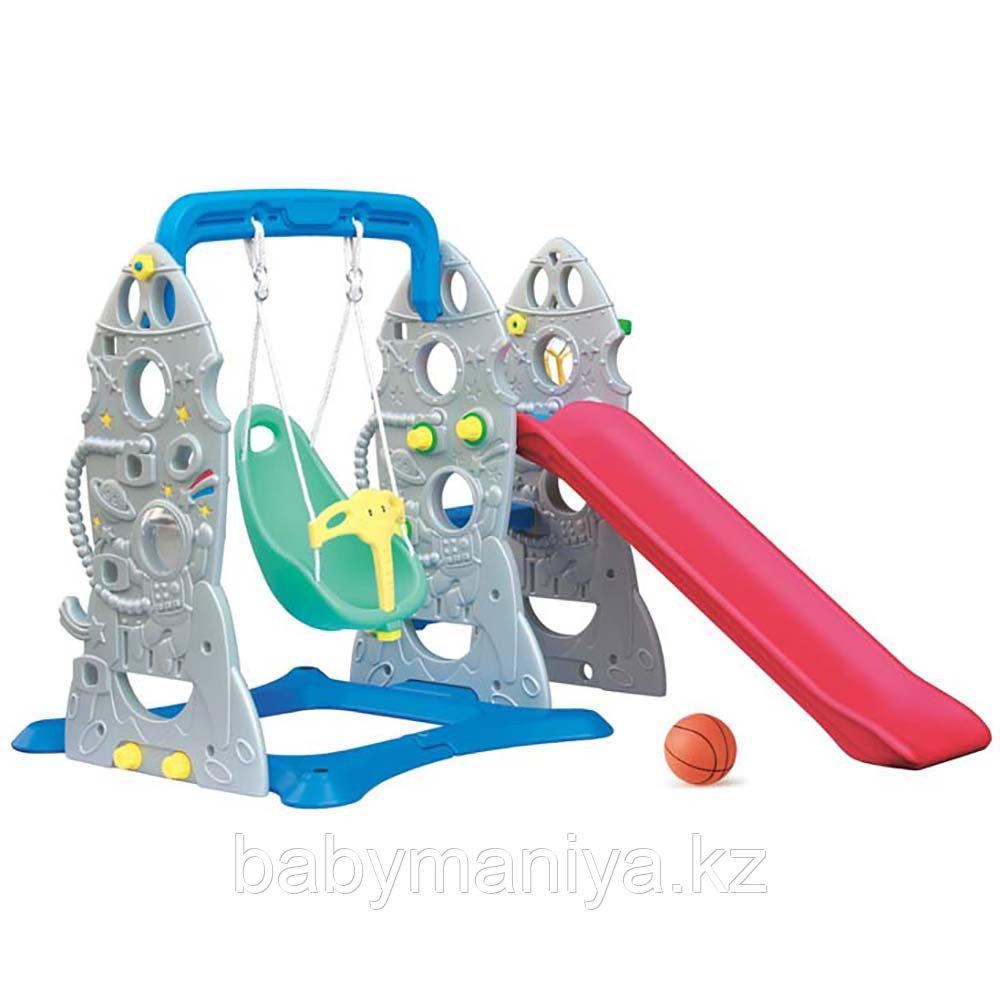 Горка-Комплекс CHING CHING Ракета (горка, качели, баскет. кольцо) 175х140х120 см