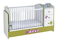 Кровать - трансформер Polini Elly с комодом белый-зеленый, фото 1