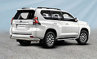 Защита заднего бампера d76+d42 двойная Toyota Land Cruiser Prado (2017-20)