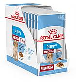 Корм Royal Canin Medium Puppy для щенков средних пород в возрасте до 12 месяцев - 10 x 140 г