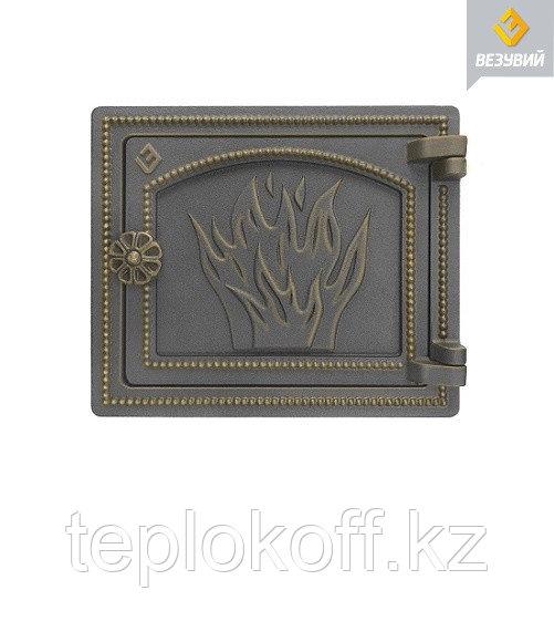 Дверца Везувий чугунная печная, (ДТ-3), 290х250 мм, бронза