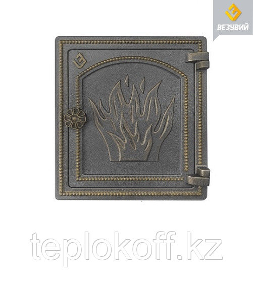 Дверца Везувий чугунная печная, (ДТ-4), 320х290 мм, бронза