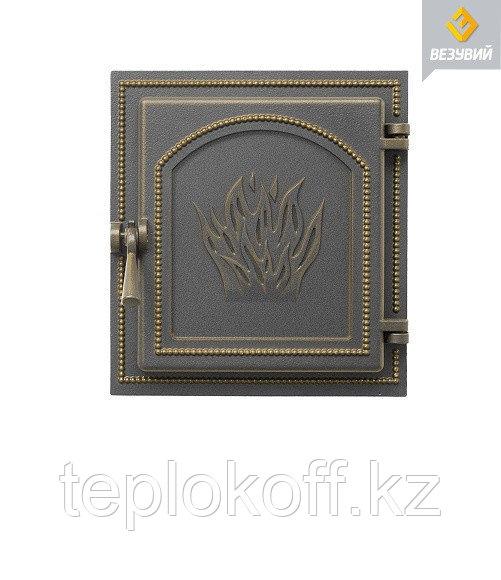 Дверца Везувий чугунная каминная, (271), 350x320 мм, бронза