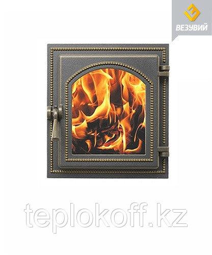 Дверца Везувий чугунная каминная, (270), 350*320 мм, стекло, бронза