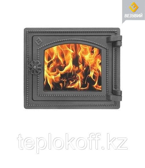 Дверца Везувий чугунная печная, (ДТ-3С) стекло, 250х290 мм, антрацит