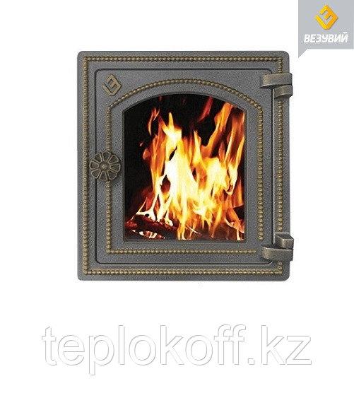 Дверца Везувий чугунная печная, (ДТ-4С), стекло,320х290мм, бронза