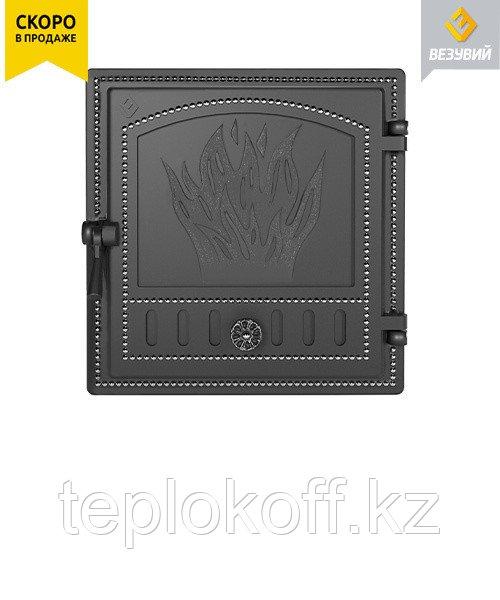 Дверца Везувий чугунная печная, (281) 415х425 мм, антрацит