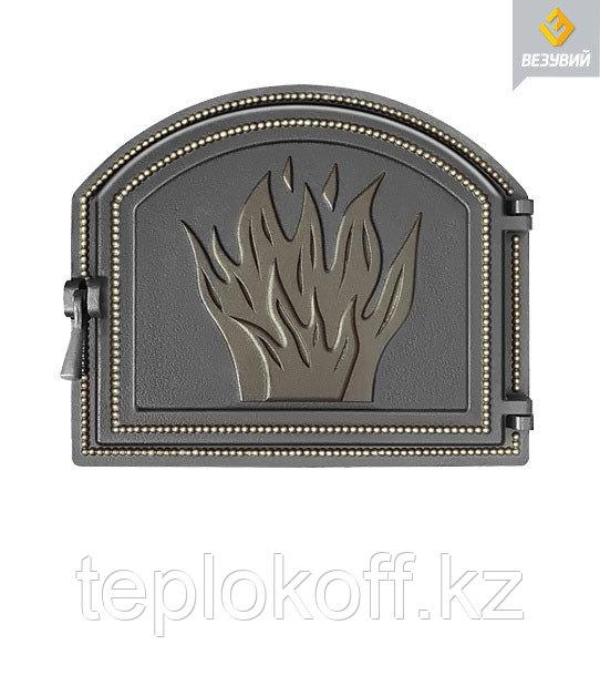 Дверца Везувий чугунная печная (218), 415х490 мм, бронза