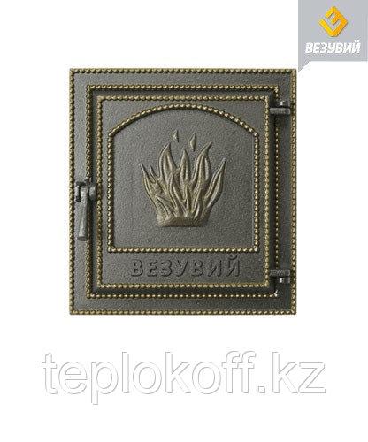 Дверца Везувий чугунная печная (211), 400х370 мм, бронза
