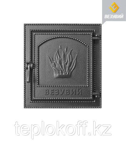 Дверца Везувий чугунная печная (211), 400х370 мм, антрацит