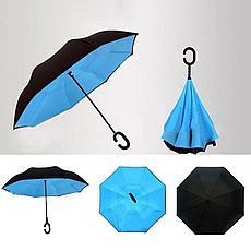 Умный зонт Наоборот, цвет голубой + черный, фото 3