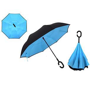 Умный зонт Наоборот, цвет голубой + черный, фото 2
